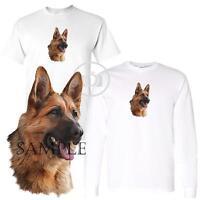 German Shepherd Dog Art Drawing Short / Long Sleeve White T Shirt M-3X