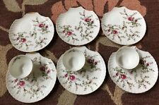 VTG China ROSE BUSHFLORAL Pattern Tea Cup Snack Plate 9 Piece Set(3cups 6plates)