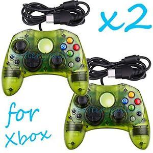 Lot Of 2 Green Controllers For Xbox Original Xbox Original