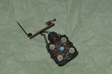 Antique broach perfume bottle silver filigree  with clear glass & blue flowers