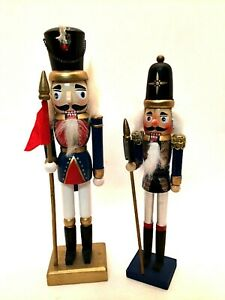 """Christmas Nutcrackers Two Wooden Handpainted Decorations 10"""" & 9"""" Tall"""