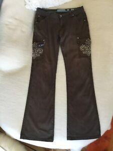 Miss Me Jeans, edel,Damen, braun, 30/34, Baumwolle/ Elasthan, Edel-Jeans, Strass