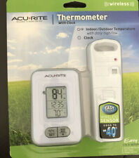 AcuRite Indoor Outdoor Wireless Digital Weather Thermometer With Clock White