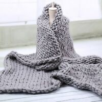 Chunky Knitted Thick Blanket Winter Warm Merino Bulky Throw Sofa Knit 60*60CM