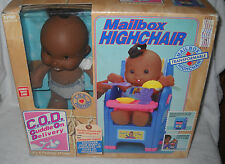 #6489 TYCO C.O.D. Cuddle On Delivery Girl Doll Afr Amer with Mailbox Highchair