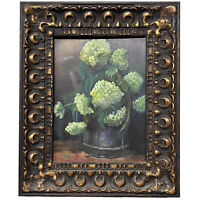 Original Art Floral Hydrangea Still Life Painting SIGNED Gold Ornate Framed
