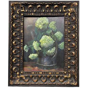 Original Art Floral Hydrangea Still Life Painting SIGNED Gold Ornate Framed