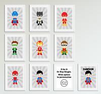 Cute Superhero Boys Bedroom Prints / Home Decor Ideas / Personalised Pictures
