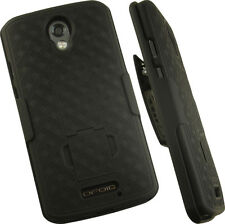 Nakedcellphones Black Rubberized Kickstand Hard Case Cover Belt Clip Holster 2