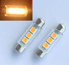 2pcs Warm White 42mm 3 SMD 5050 LED Number Plate Light c5w Festoon Dome Bulb 12V