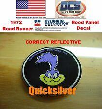 1972 Plymouth Road Runner GTX REFLECTIVE Hood Panel Emblem Decal NEW MoPar USA