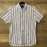 Tommy Hilfiger Mens Multicolor Striped Custom Fit Button Front Shirt Size Medium