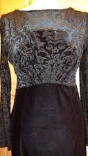 Stunning Monsoon, Black Velvet, Long-sleeved pencil dress: Size 10/12 - Mint