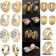 Womens 18K Multi-Tone Gold Platinum Filled Round Hoop Crystal Pierced Earrings