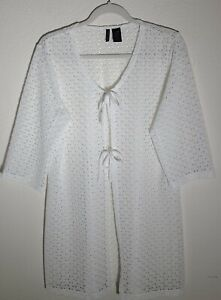 Anne Cole White 3/4 Sleeve Plus Size Swimsuit Cover Up sz XXL