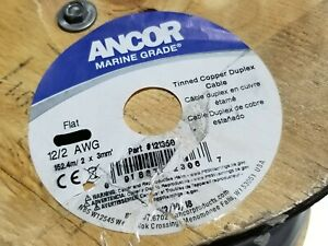 Ancor 12/2C Marine Grade Tinned Copper Flat Duplex Boat Cable (B+R) White /25ft