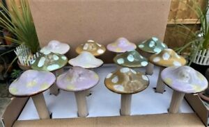 4 Piece Ceramic Glazed Mushroom Garden Ornament Set for  Garden Lawn Decoration