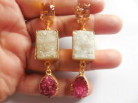 Gold-Vermeil-Jewelry-Pink-Hydro Quartz-Prong-Stud-Designer-Earring-Sale-Gold