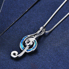 Note Necklace Pendant For Women'S Fashion Silver Blue Simulated Opal Musical