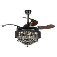 "46"" Modern Remote Chandelier Fan Retractable 4-Blade Crystal Ceiling Fan, Black"
