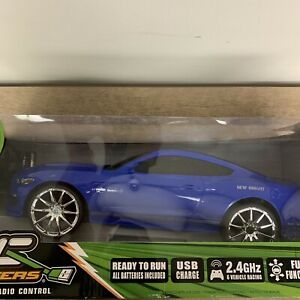 New Bright Remote Control Ford Shelby GT350 Blue & Black RC Car Chrome Sealed