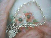 Vintage Jewellery Sterling Silver Chain Heart Padlock Bracelet Antique Jewelry