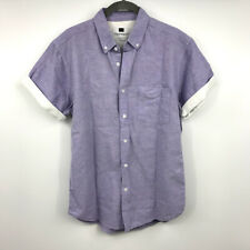 Topman Shirt M Mens Button-Down Collar Pocket Cuffed Short Sleeve Purple