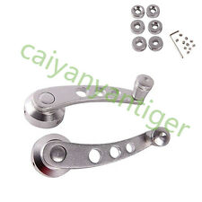1 Pair 120*38mm Universal Set Window Crank Lever Handle Silver w/Aluminum Cover