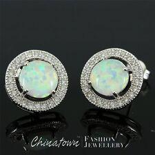 8mm Round White Fire Opal Cabochon CZ Silver Jewellery Stud Pierced Earrings