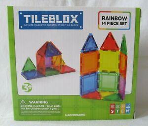 Tileblox Rainbow 14 Piece Set Magnetic Magformers Building Blocks Toy 3+ NEW