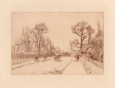 """1892 Camille Pissarro Etching """"On the Avenue Sydenham"""" Framed LIMITED TO 50 COA"""
