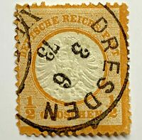 1872 GERMANY STAMP #16 EAGLE, BIG SHIELD WITH 1873 DRESDEN SON CANCEL