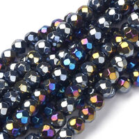 20 Strds Opaque Glass Beads Faceted Round AB Color Tiny Loose Bead Black 6mm DIA