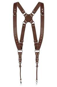 Coiro Dual Harness Camera Cross Shoulder Leather Strap Quick Adjustable SLR/DSLR