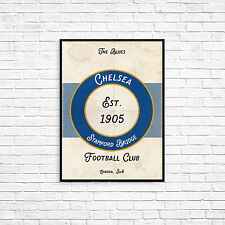 Chelsea FC The Blues A4 Art Poster Retro Vintage Style Print Stamford Bridge