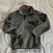 Patagonia Womens Lightweight Synchilla Snap-T Fleece Pullover Gray Navy Jacket S