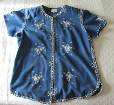 New listing Vintage Lily Embroidered Blue Blouse Size M