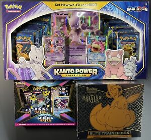 Pokemon TCG XY EVOLUTIONS & SHINING FATES / 1 Kanto / 1 Sh. Fate ETB / 1 Pin Box