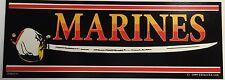 "MARINES / Sword - 3"" x 9"" Bumper Sticker"