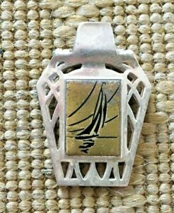 Vintage Demley Silver & Brass Money Clip with Sailing Ship