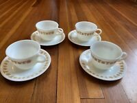 Set of 4 Vintage PYREX Corelle Butterfly Gold Milk Glass Coffee Cups with Saucer