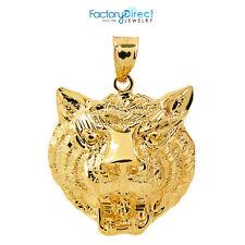 14k Yellow Gold Diamond Cut Tiger Head Charm Pendant