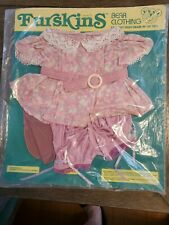 Vintage 1986 FURSKINS Bear Clothing Pink Flower Outfit New/old Stock