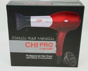 CHI Pro Low EMF Red Metallic Professional Ceramic Hair Blow Dryer 1500 Watts NEW