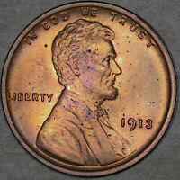 1913 Lincoln Wheat Cent 1C - Gem Uncirculated - Red Brown RB