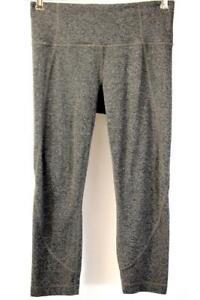 ATHLETA Black Gray CROP CAPRI TIGHT Leggings Athletic Activewear Stretch SMALL