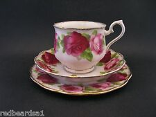 Royal Albert Old English Rose Vintage China Trio Cup Saucer Plate c1940s Hampton