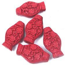 5 Cinnabar Carved Lantern Pendant Focal Beads 28x15mm