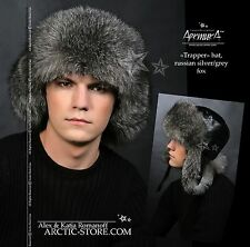 GREY FOX MEN'S TRAPPER FUR HAT Ushanka Trooper chapeau fourrure homme renard