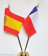 Spain & Chile Double Friendship Table Flag Set